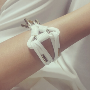 white strap mock gold bracelet